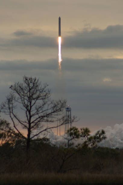 Liftoff of the Orbital ATK Antares launch vehicle at Wallops Islands in Virginia stock photo