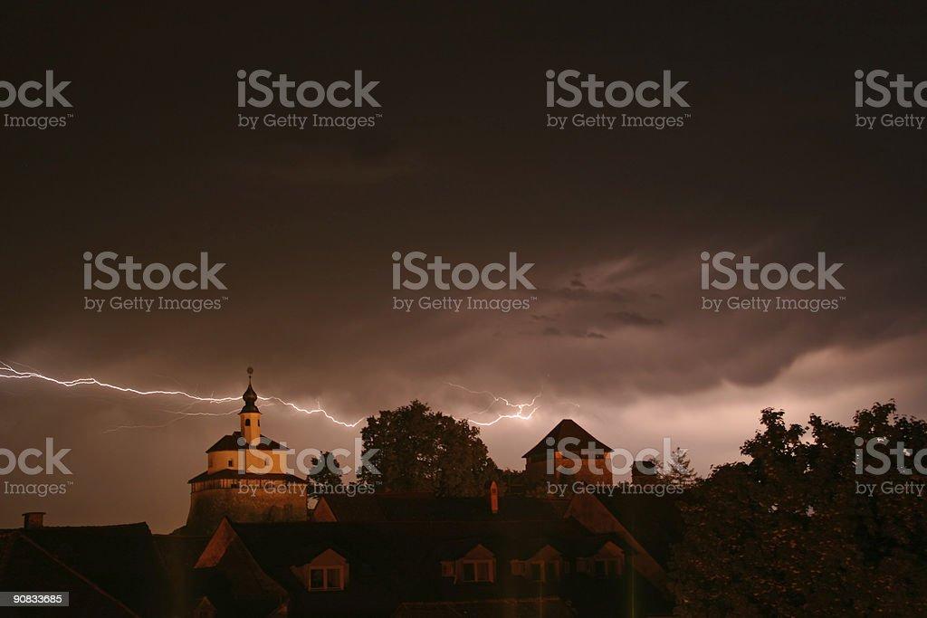 Lighning em uma tempestade - fotografia de stock