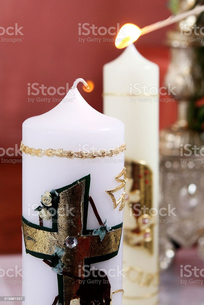 Light a candle stock photo