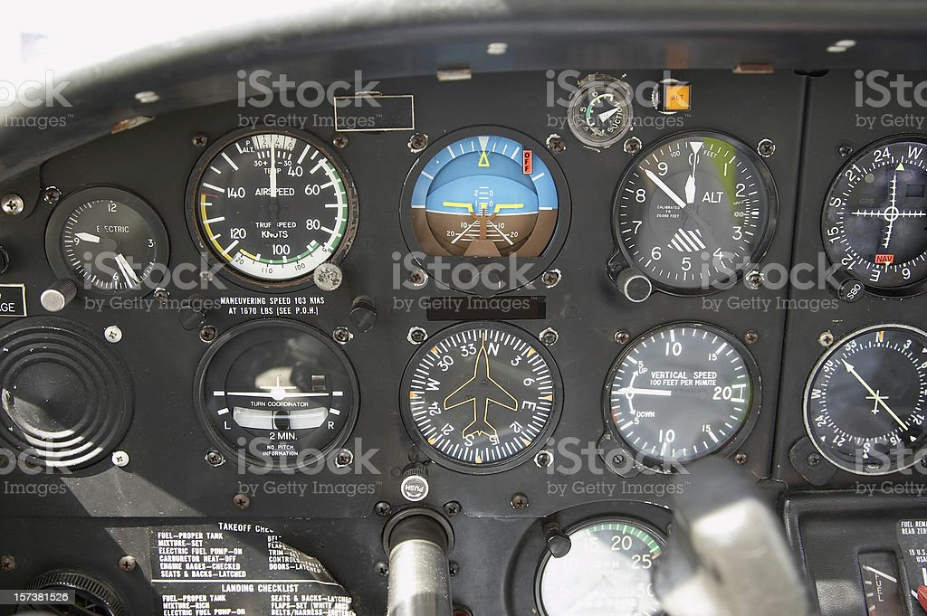 Light aircraft cockpit controls and dials close up royalty-free stock photo