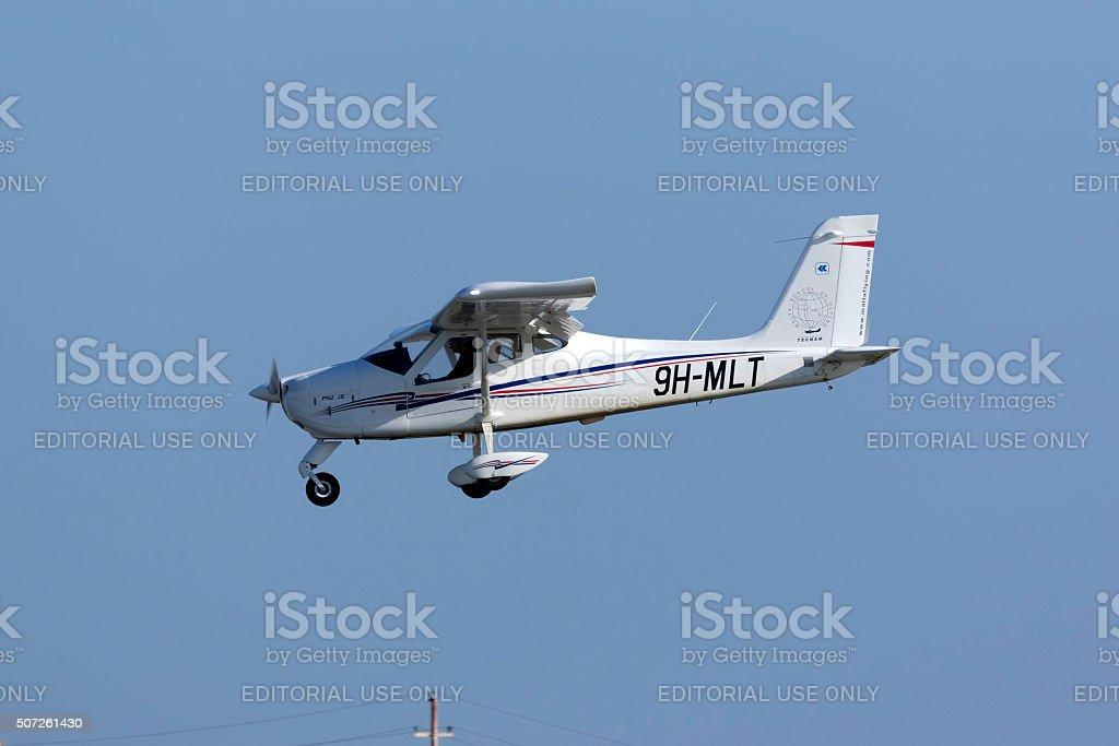 Light Aircraft on Training flight stock photo