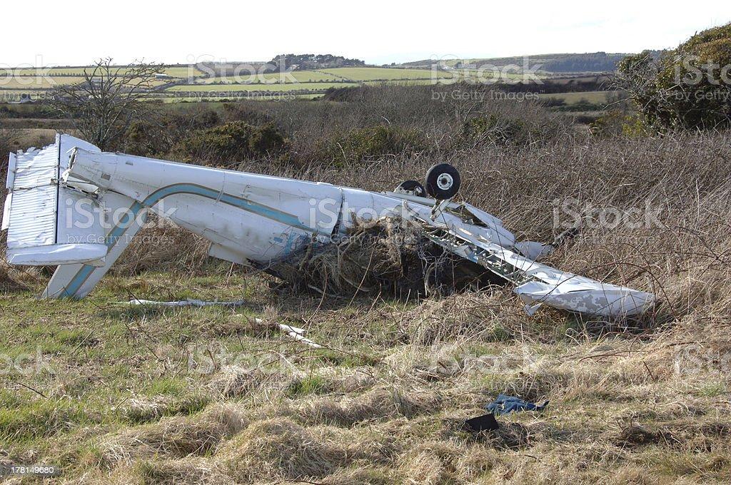 Light Aircraft Photographed after a Crash. stock photo