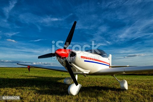 light aircraft on a small airfield