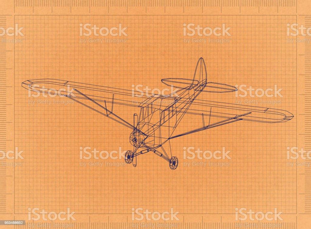 Leichtflugzeug - Retro-Blueprint – Foto