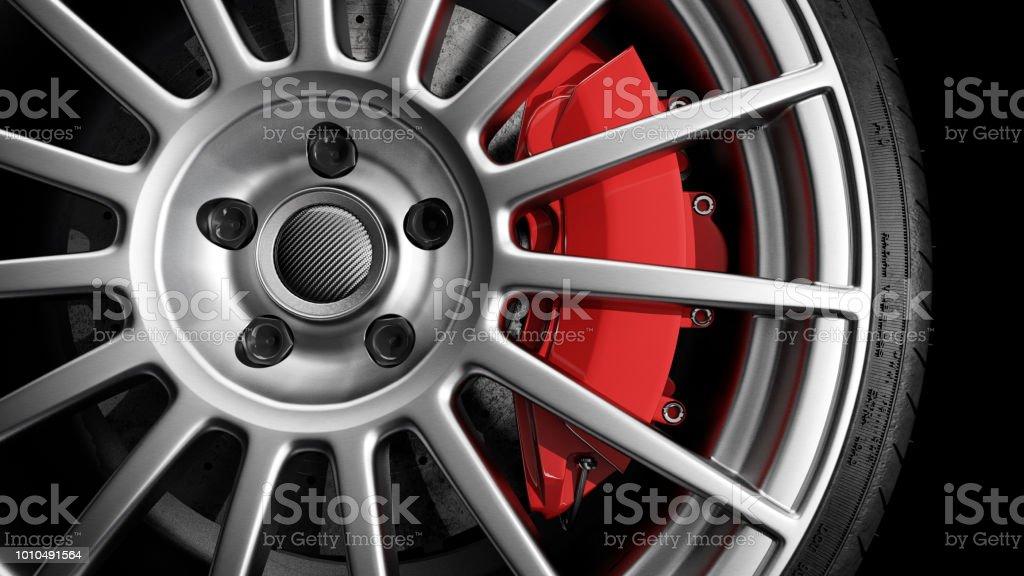 light alloy wheel studio shot stock photo