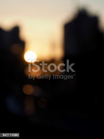 istock Light and black and white photos, focus blur, sunset, 942174060