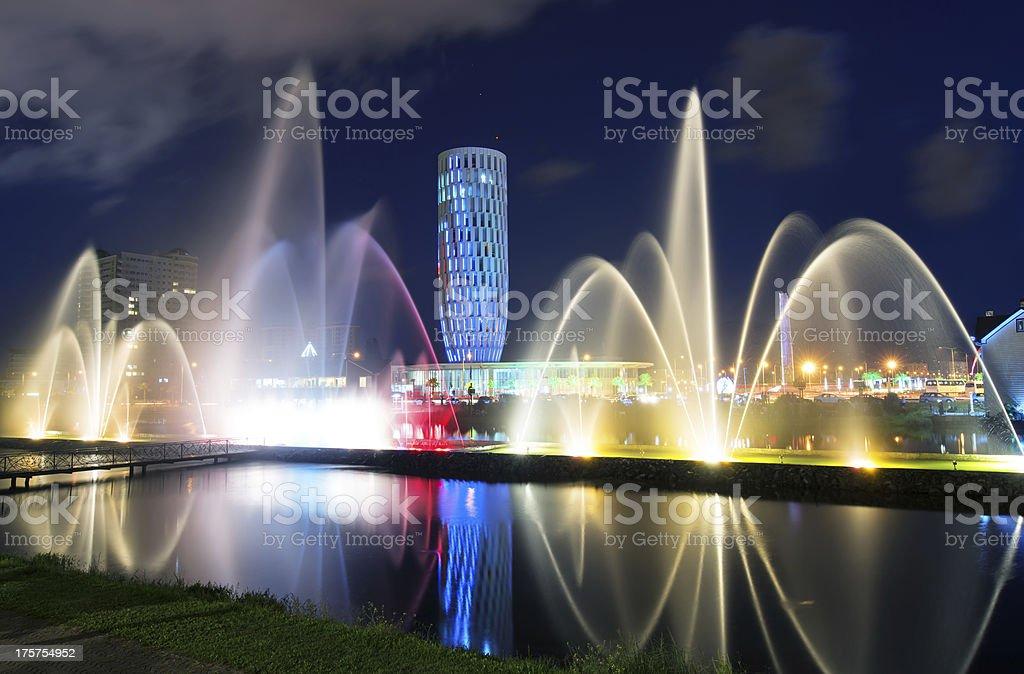 Light and music fountain in Batumi. stock photo