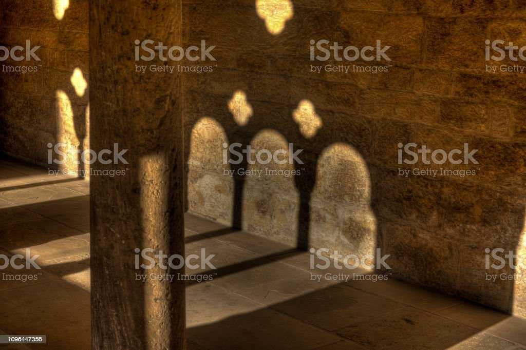 Light and shadow in the cloister in the Kaiserdom of Königslutter am...