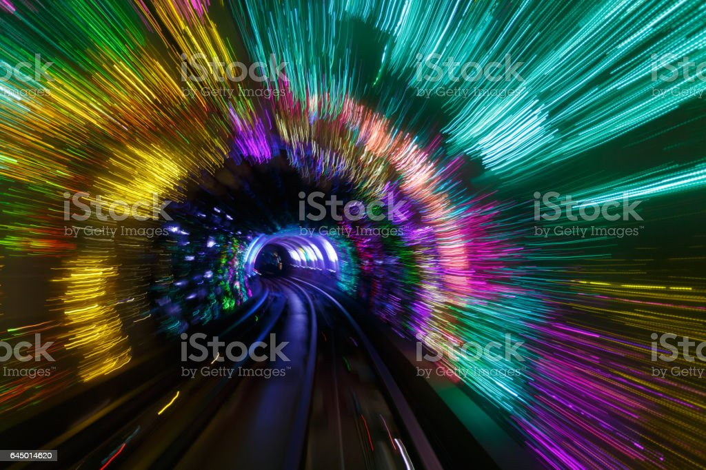 Light and shadow  in  underground tunnel stock photo