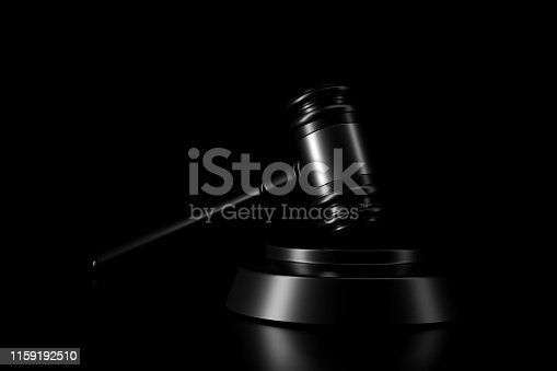 istock Light and shadow of gavel in the darkness. 3D rendering. 1159192510
