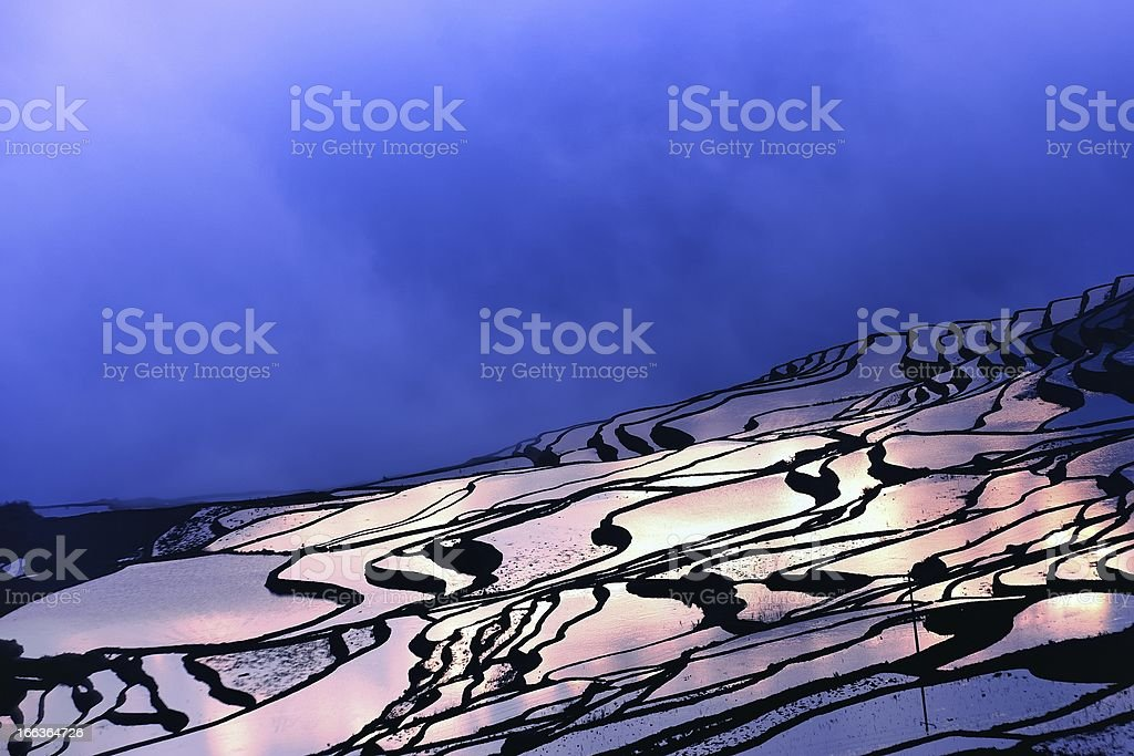 Light and shadow of terraced fields royalty-free stock photo