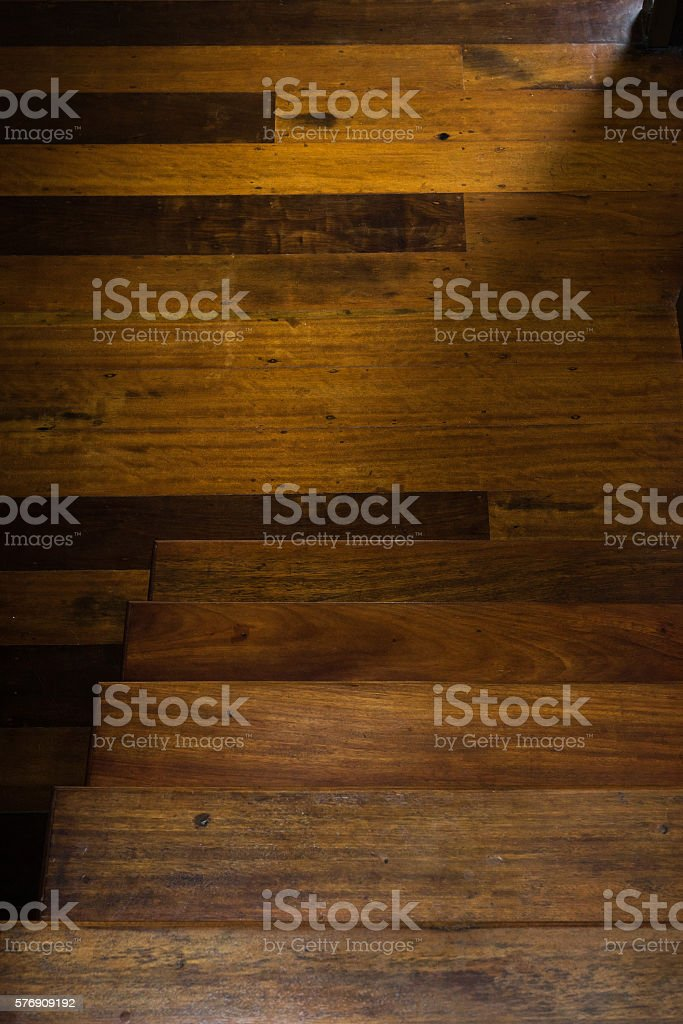 Light and shadow of wooden stairs and parquetry stock photo