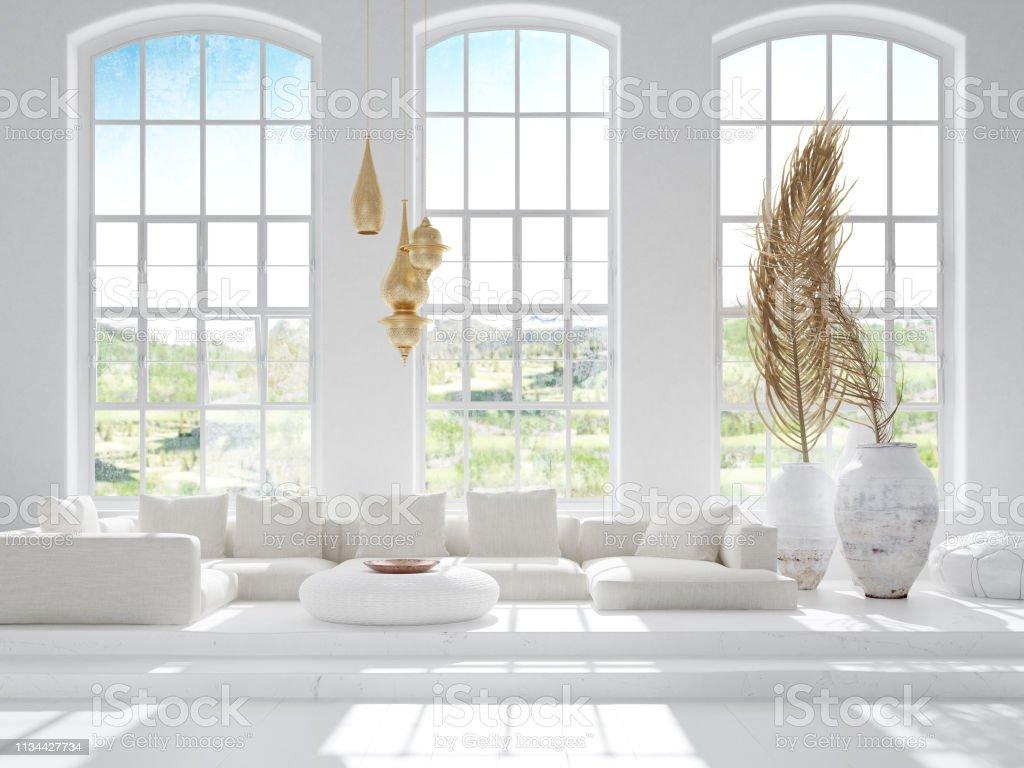 Light and spacious bohemian living room, Scandi–Boho style