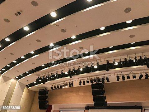 istock light and speaker in seminar room 699873296