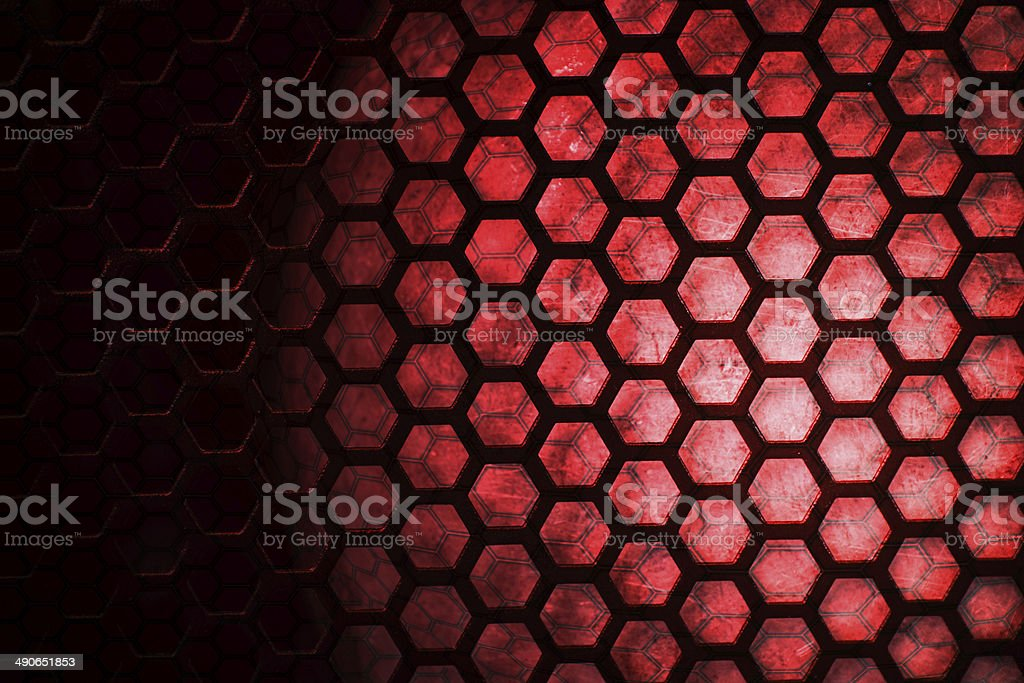 Light and steel mesh red background stock photo
