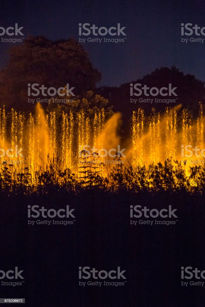 Light and water show on Fountain in the Night, Planten un Blomen, Hamburg, Germany stock photo