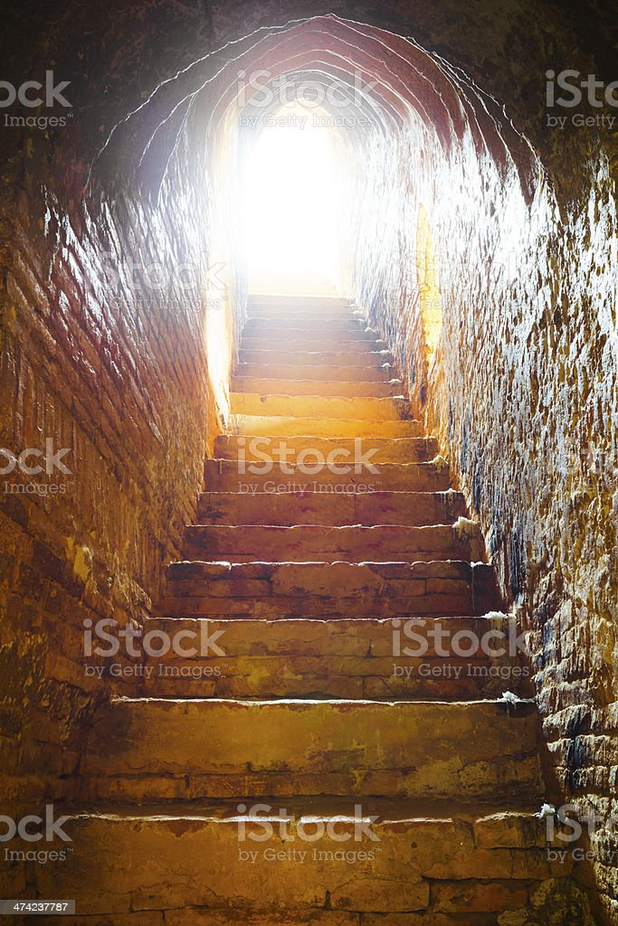 light at end of tunnel in castle royalty-free stock photo