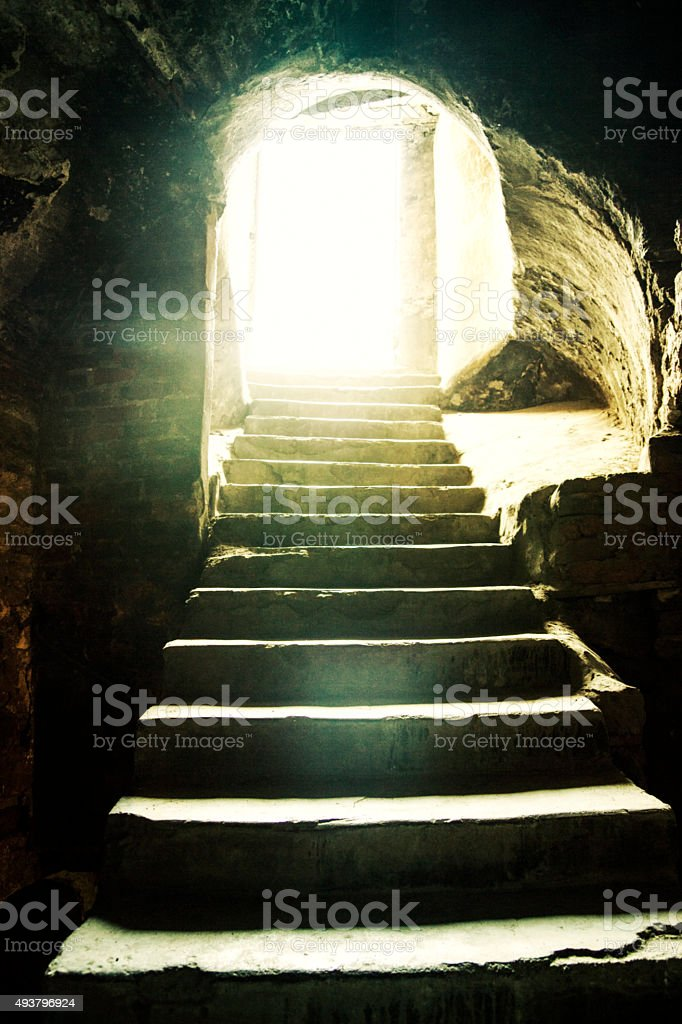 Light at the end of the tunnel. stock photo