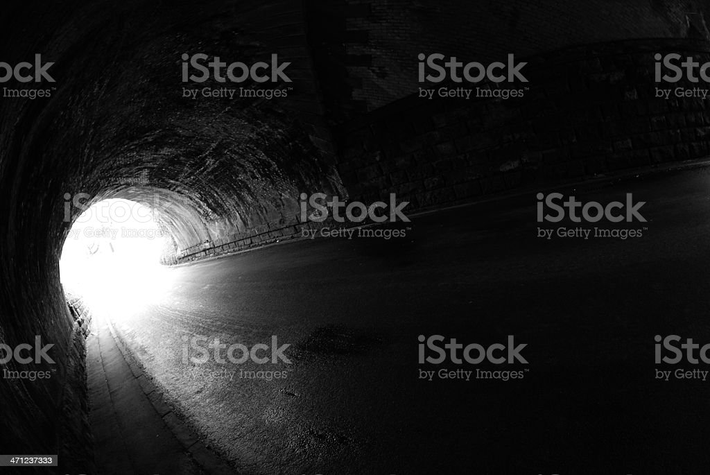 Light at the end of tunnel black and white royalty-free stock photo