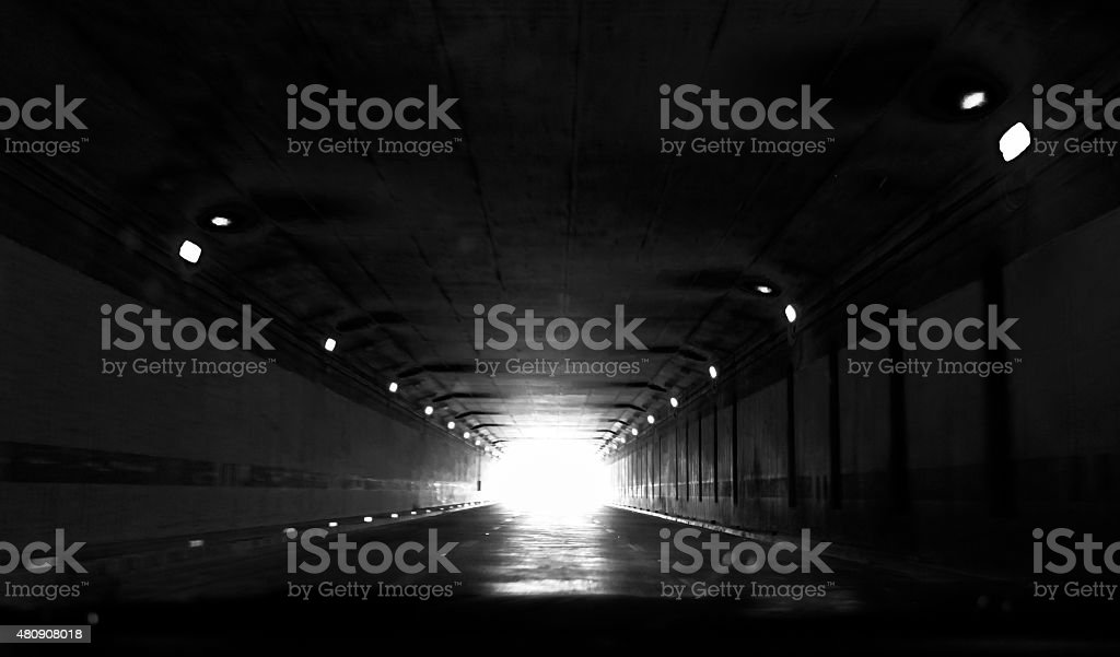 Light at the end of tunnel stock photo