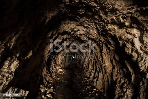 An ingerior view of a man made cave relaized by the italian military force during WWI along the