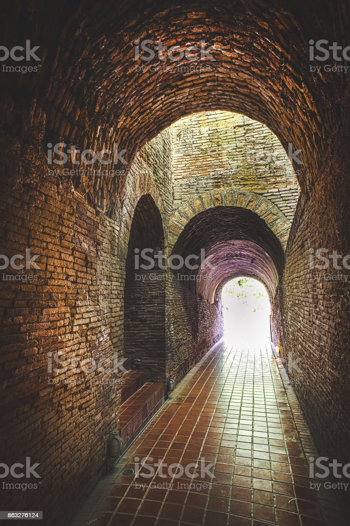 Light at the tunnel stock photo