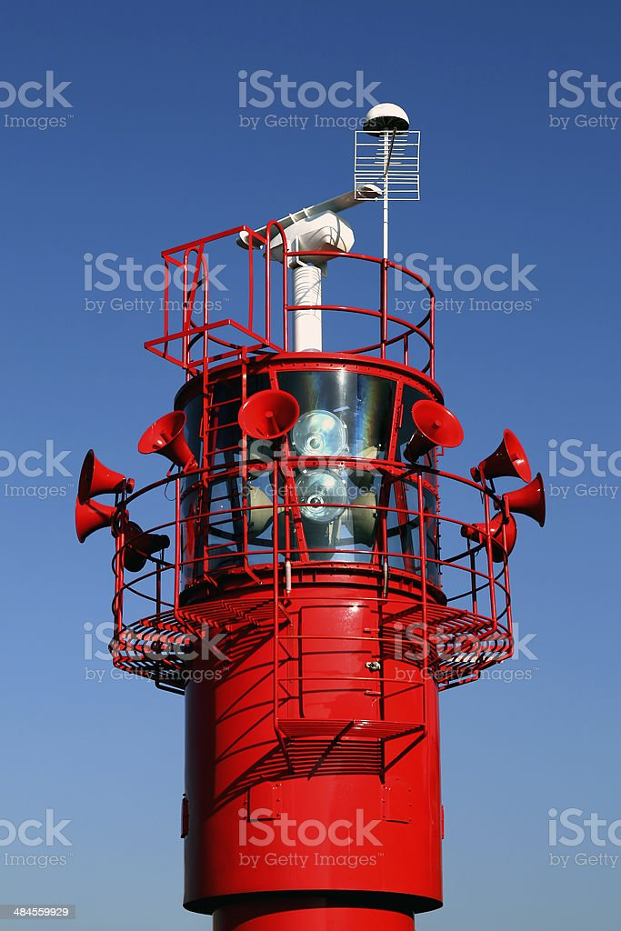 Light beacon with foghorns situated on Albert Dock, Liverpool stock photo