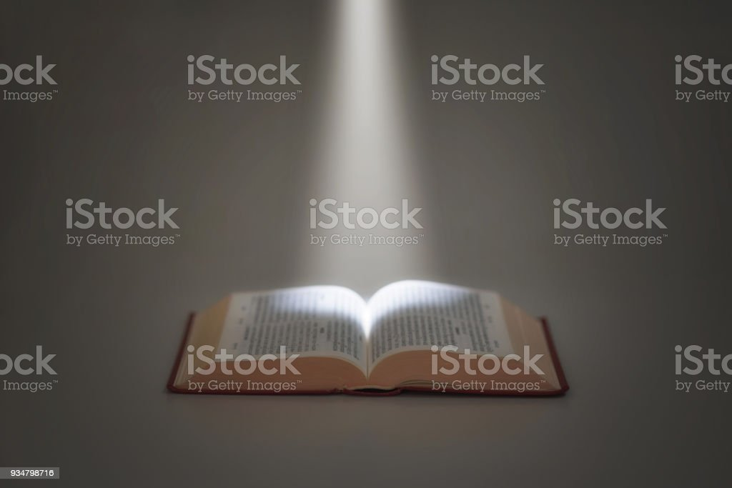 light beam and Chinese bible royalty-free stock photo