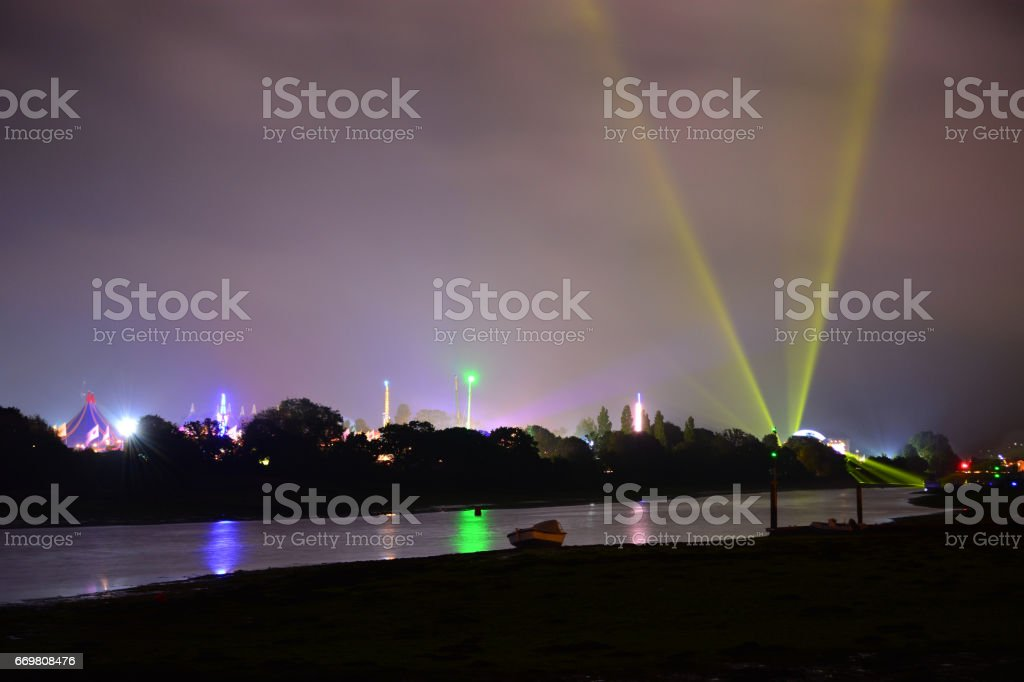 Light Beam at the Isle of Wight Festival stock photo