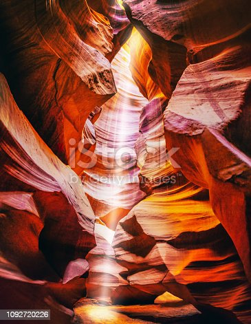 Ray of light in upper antelope canyon near Page. Arizona. United States of America