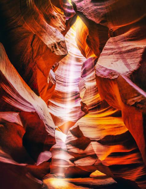 light beam at upper antelope canyon, Arizona. USA stock photo