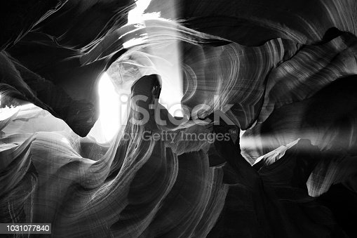 Light beam passing through the beautiful abstract eroded landscape of Upper Antelope Canyon in Arizona, USA.