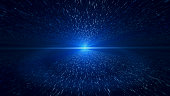 Light Beam, Blue Particle Background