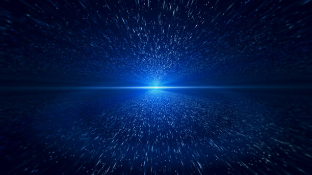 light beam, blue particle background - space foto e immagini stock