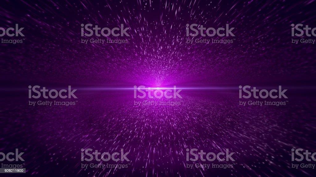 Light Beam, Purple Particle Background stock photo