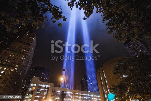 Light beams representing the Twin Towers in New York City, USA