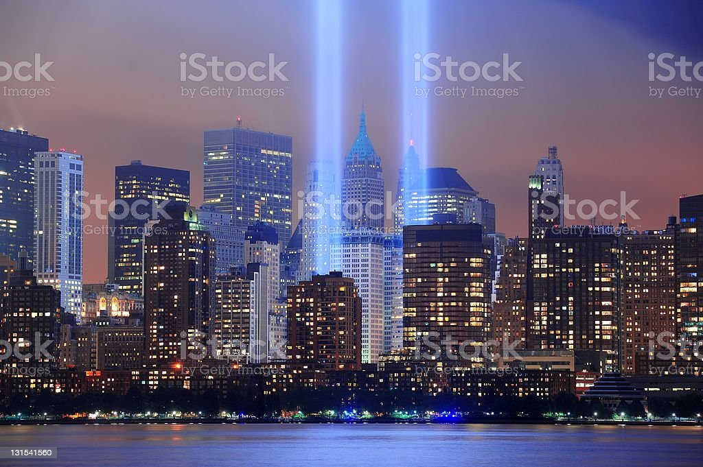 Light beams representing the Twin Towers in New York City  stock photo