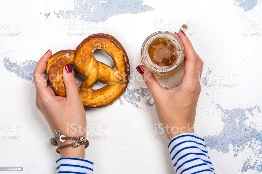Light beer and pretzel stock photo