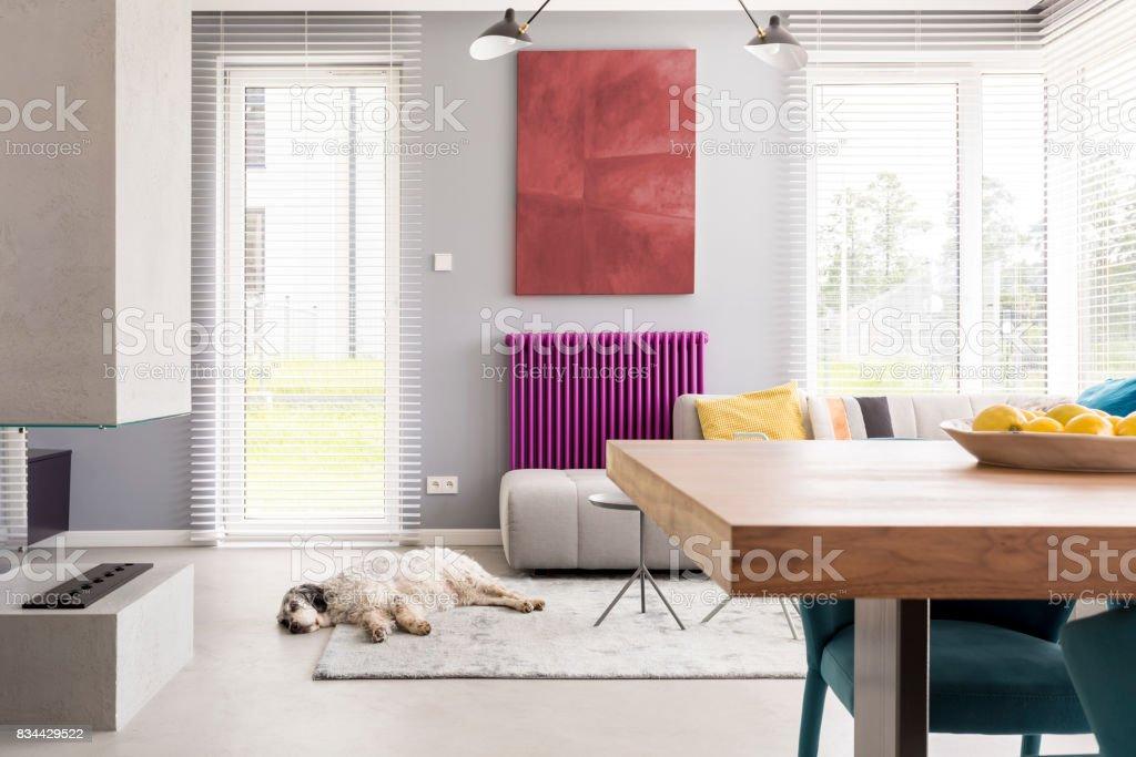 Helles Beige zeitgenössische Wohnzimmer – Foto