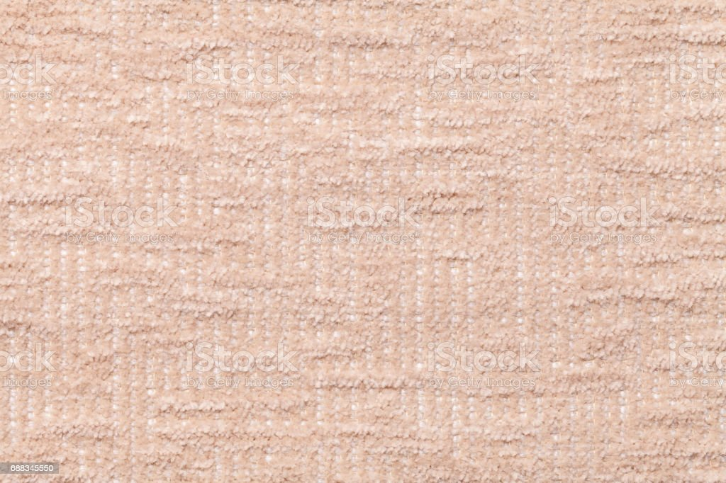 Light Beige Fluffy Background Of Soft Fleecy Cloth Texture Of Plush