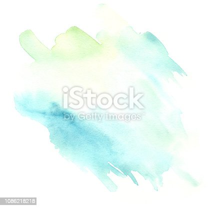 istock light blue and green watercolor blot isolated on white background 1086218218