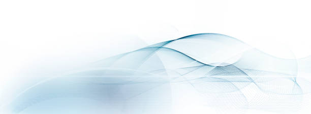 light blue and white motion lines on blurred light blue background - foto stock