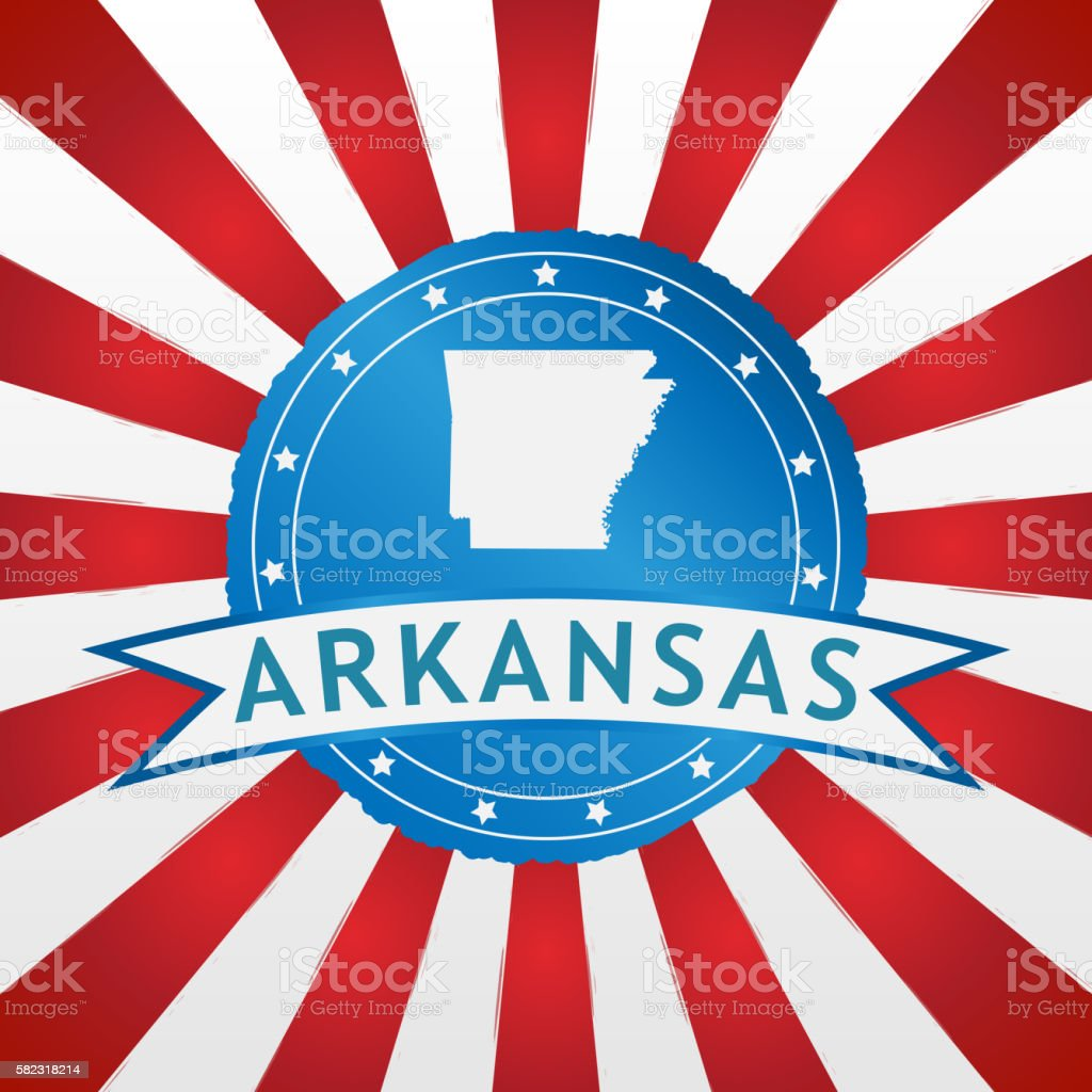 Light blue Arkansas badge on retro red white striped background stock photo