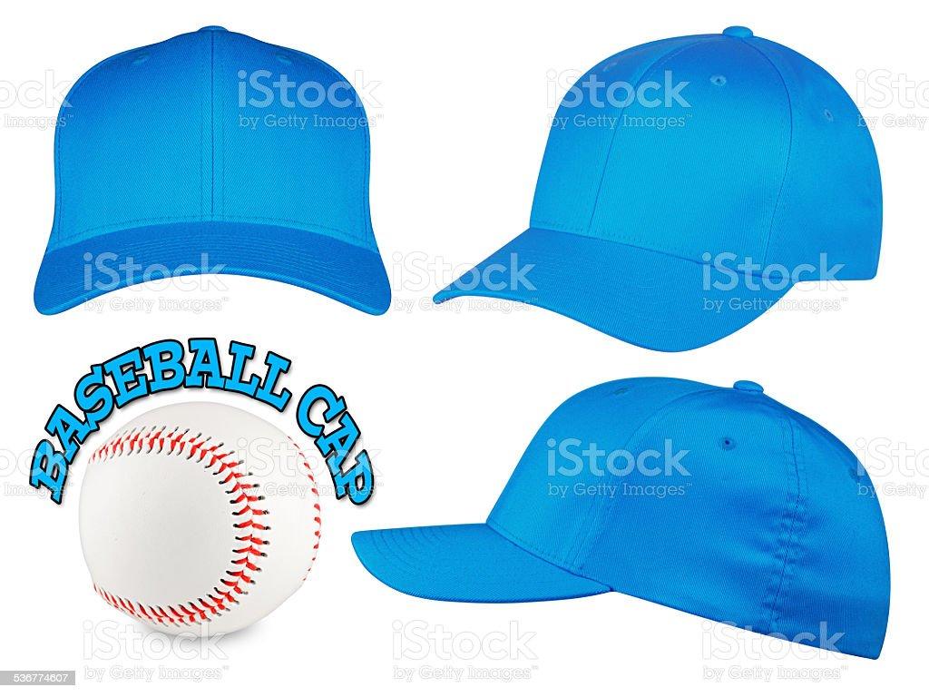 light blue baseball cap set stock photo