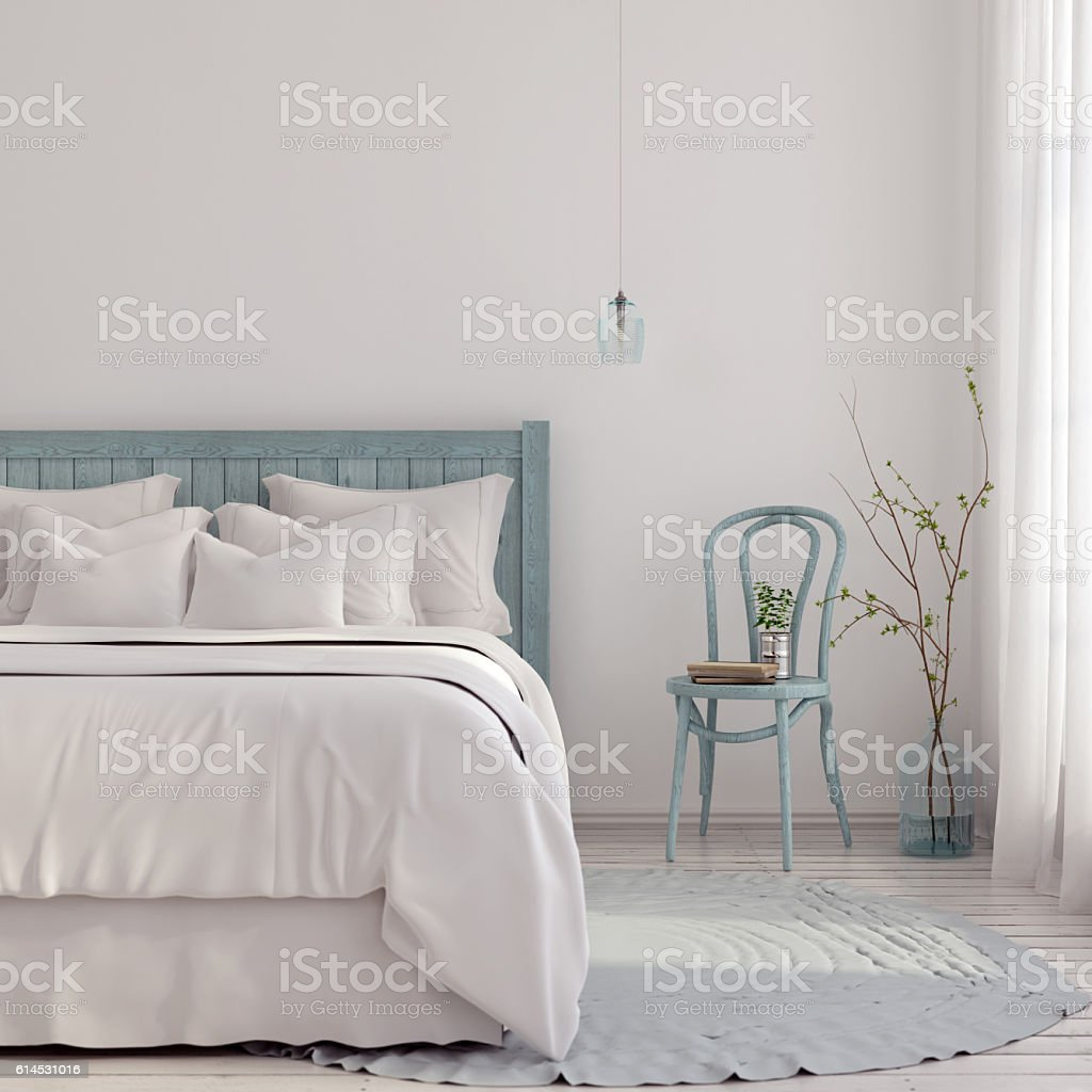 Light blue bedroom stock photo