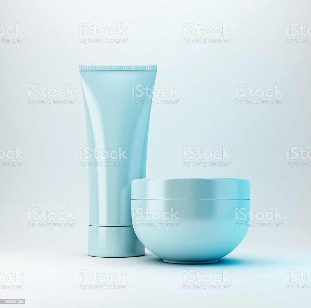 Light blue containers for cosmetic products stock photo