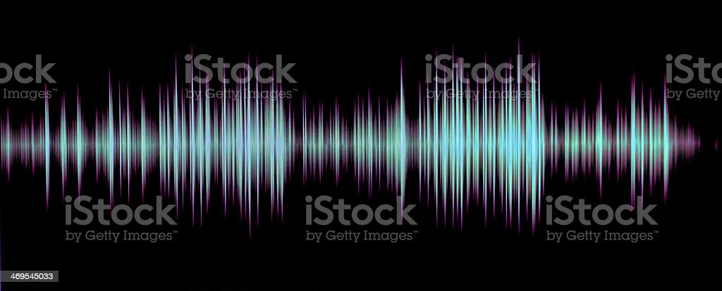 Light blue frequency waves on a black background stock photo