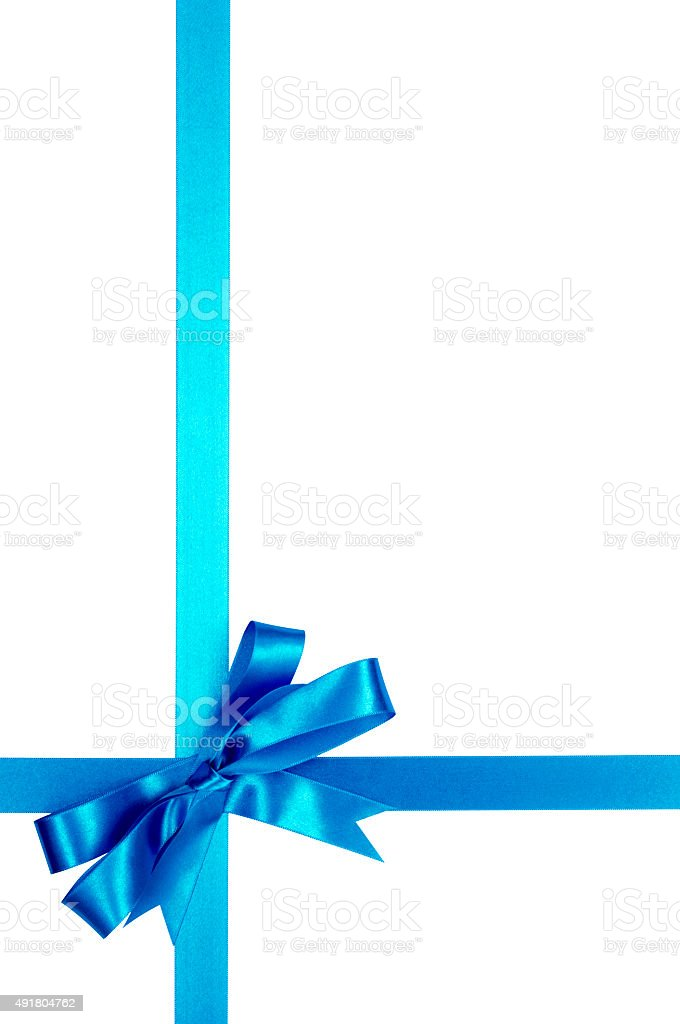 Light Blue Gift Ribbon Bow Isolated On White Background Vertical Royalty Free Stock Photo