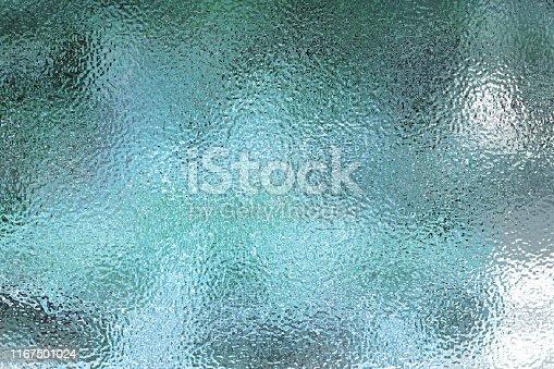 Light blue matte surface. Plastic glass. Frosted winter window glass. Gradient transparent background. Realistic 3d illustration