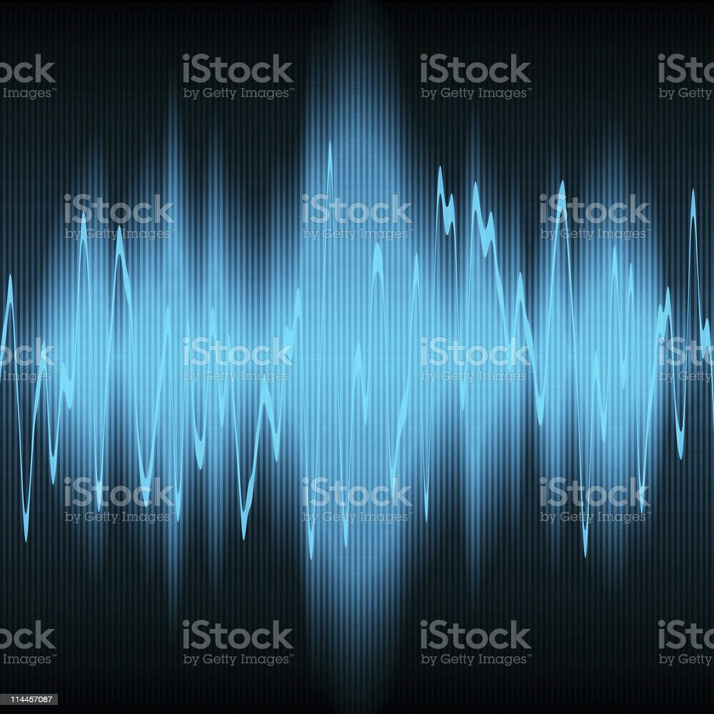 A light blue neon sound wave on a black background stock photo